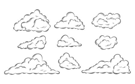 Collection hand drawn doodle style clouds. Black line clouds icon set