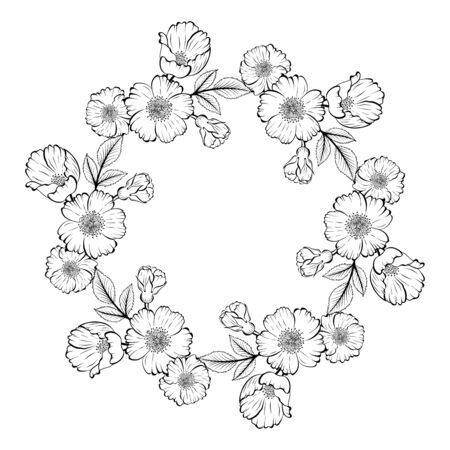 Sketch style floral empty round frame for invitation, romantic message, anniversary, announsement. Ilustrace