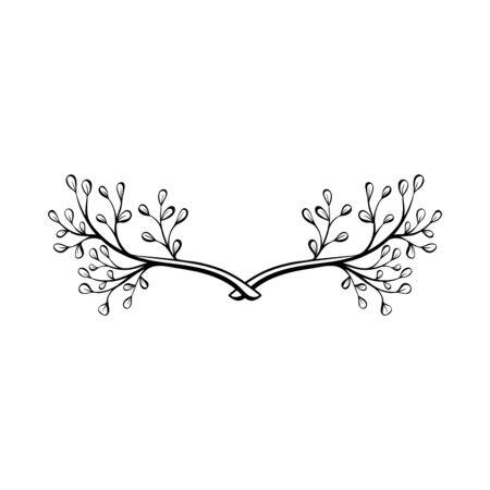 Hand drawn doodle floral wreath. Decorative element.  Floral divider. Rustic laurel.