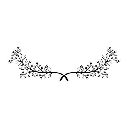 Corona floreale di doodle disegnato a mano. Elemento decorativo. Divisorio floreale. Alloro rustico