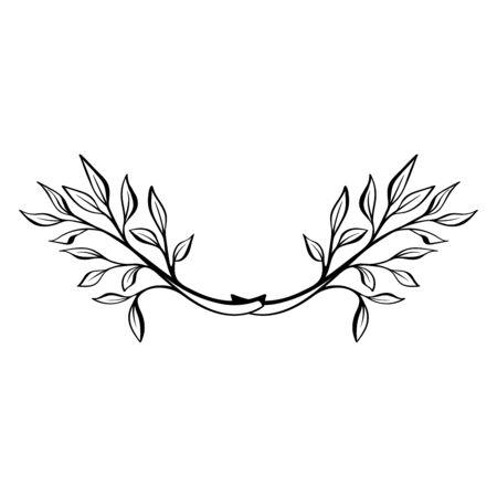 Hand drawn doodle floral wreath. Decorative element.  Floral divider. Rustic laurel