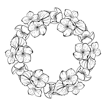 Sketch style floral empty round frame for invitation, romantic message, anniversary, announsement.  イラスト・ベクター素材