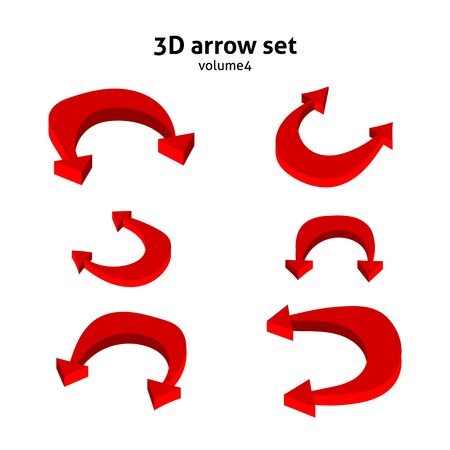 Collection 3d red arrows isolated on white background. Information pointers set. Vector illustration. Иллюстрация