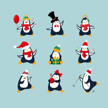 Cute penguin collection for Christmas and New Year design. Set penguins with scarves, hats, balloon, ice-cream, headphones, gift, christmas ball Illusztráció