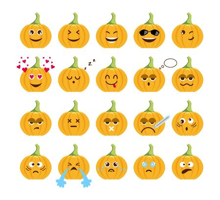 Collection cartoon funny pumpkin head isolated on white background. Different cute pumpkin emotion set.   イラスト・ベクター素材