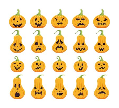 Collection of carved pumpkin design. Halloween holiday icon set. Collection of different pumpkin emotion.
