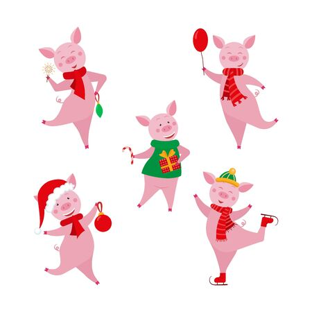 Cute cartoon pigs collection. Christmas and New year element for design.