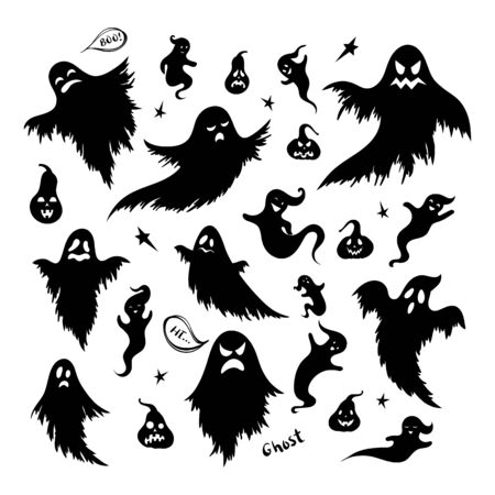 Hand drawn black silhouette of doodle ghost and pumpkin set. Collection of Halloween symbol. Magic creature set. Illusztráció