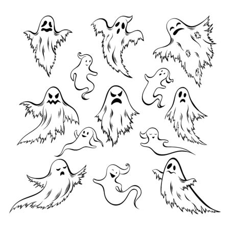Hand drawn doodle ghost set. Collection of Halloween symbol. Magic creature set.