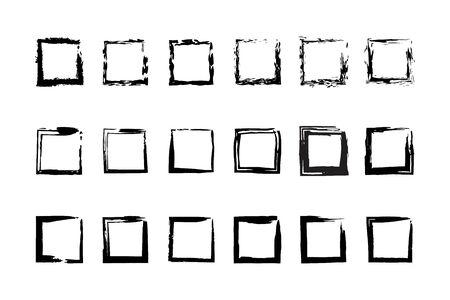 Collection empty black grunge rectangle frame isolated on white background. Grunge vignette black set