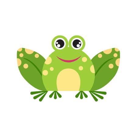 Illustration portrait of frog. Cute joyful frog face. Ilustração