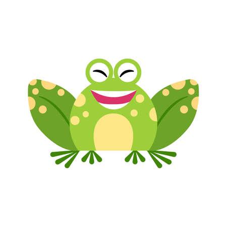 Illustration portrait of frog. Cute smiling frog face. Ilustração
