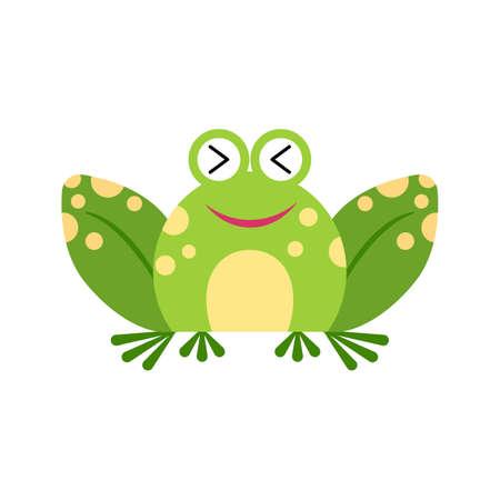 Illustration portrait of frog. Cute laughing frog face. Ilustração
