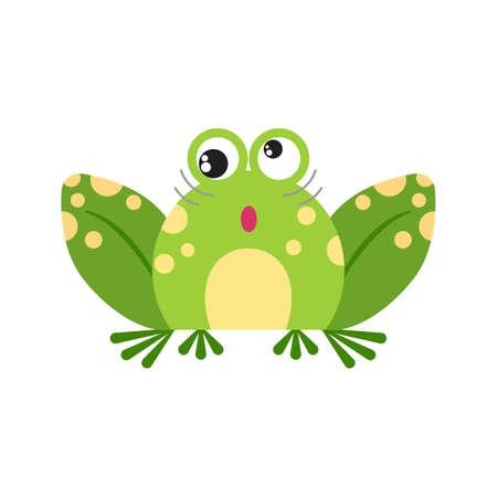 Illustration portrait of frog. Cute crazy frog face.