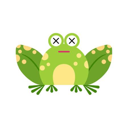 Illustration portrait of frog. Cute shock frog face. 矢量图像