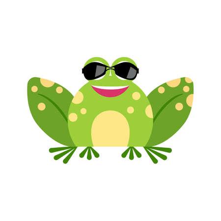 Illustration portrait of frog. Cute spy frog face.