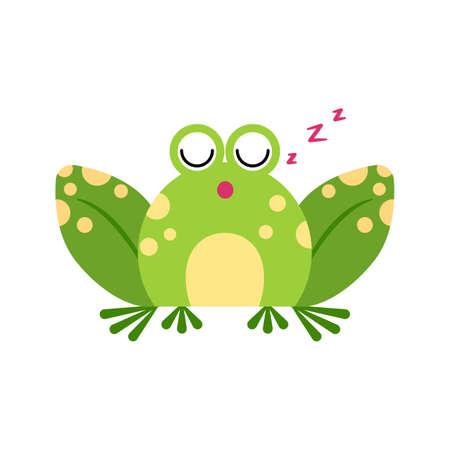 Illustration portrait of frog. Cute sleeping frog face.