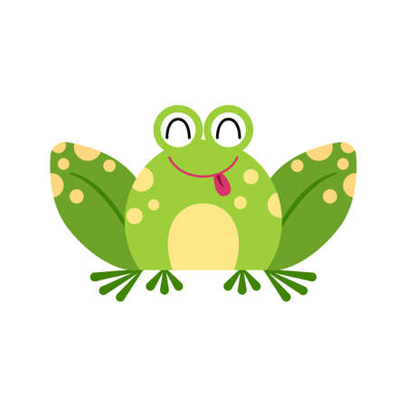 Illustration portrait of frog. Cute teasing frog face.