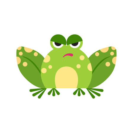 Illustration portrait of frog. Cute angry frog face.