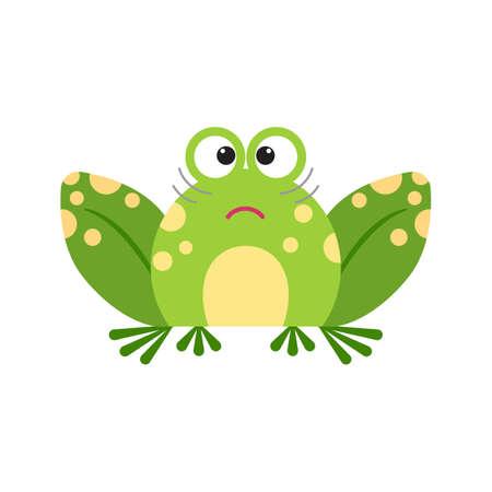 Illustration portrait of frog. Cute confused frog face.