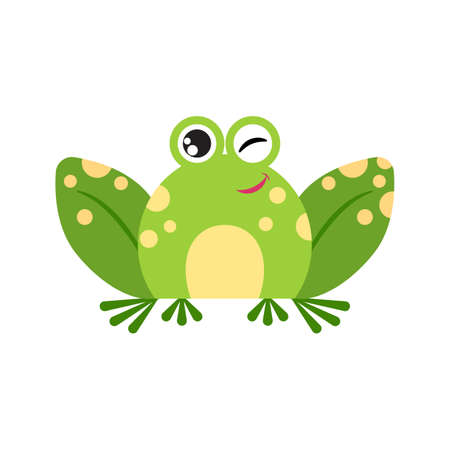 Illustration portrait of frog. Cute winking frog face.