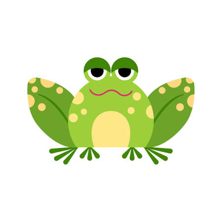 Illustration portrait of frog. Cute ironic frog face.