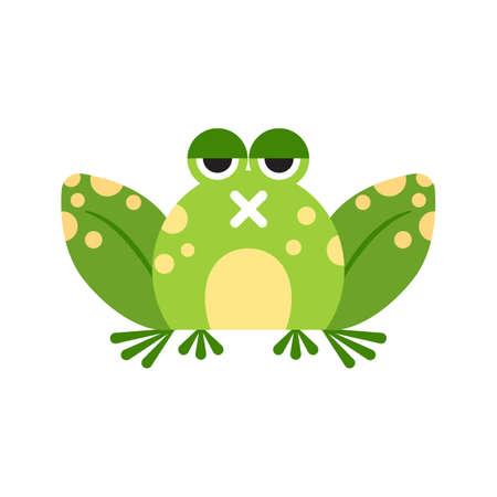 Illustration portrait of frog. Cute silent frog face.