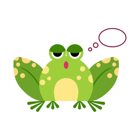 Illustration portrait of frog. Cute thinking frog face. 矢量图像