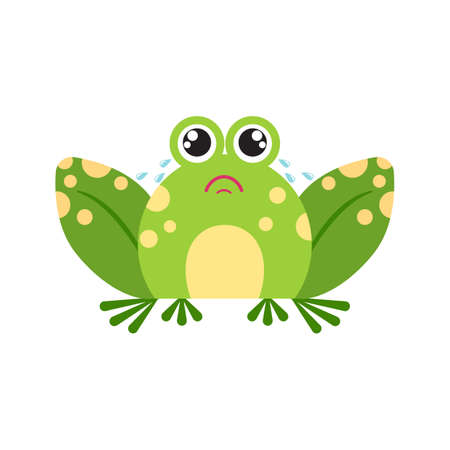 Illustration portrait of frog. Cute crying frog face.