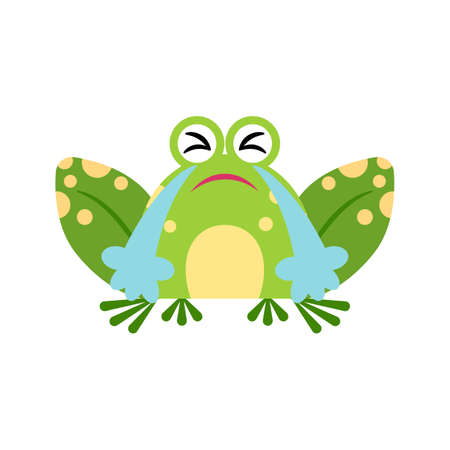 Illustration portrait of frog. Cute loudlycrying frog face. 矢量图像