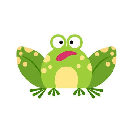 Illustration portrait of frog. Cute amazed frog face. 矢量图像
