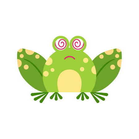 Illustration portrait of frog. Cute stupefaction frog face.