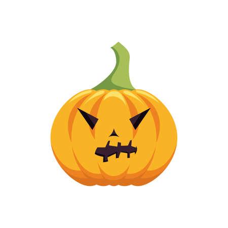 Carved pumpkin design. Halloween holiday icon. Pumpkin emotion.