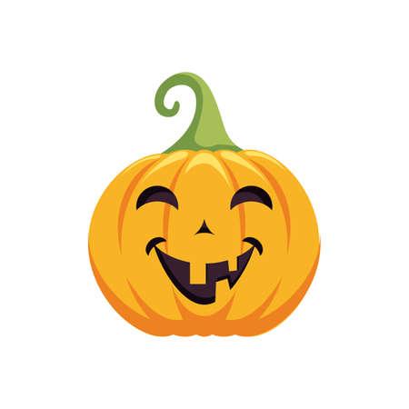 Carved pumpkin design. Halloween holiday icon. Pumpkin emotion. 矢量图像