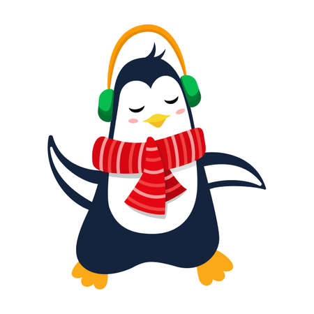 Cute penguin with headphones listening to music. Cartoon winter character for Christmas and New Year design.