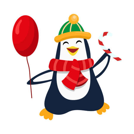 Cute cartoon funny christmas penguin with balloon and candy for Christmas and New Year design. 矢量图像