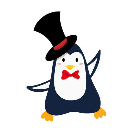 Cute smiling christmas penguin in hat for Christmas and New Year design.