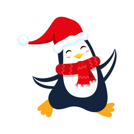 Cute smiling christmas penguin in red hat for Christmas and New Year design.