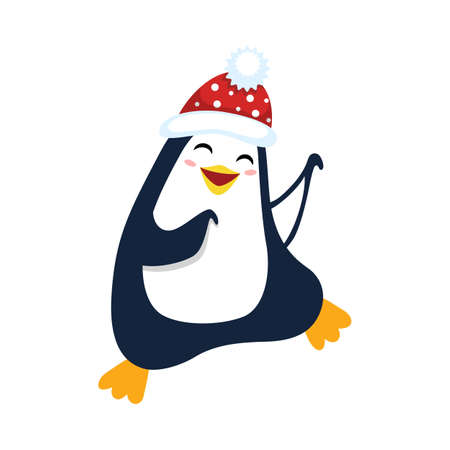 Cute dancing christmas penguin for Christmas and New Year design. 矢量图像