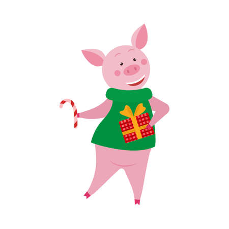 Cute cartoon pig with gift box and candy for Christmas and New Year design. 矢量图像