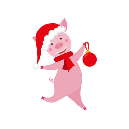 Cute cartoon funny pig with christmas ball for Christmas and New Year design.