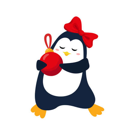 Cute christmas penguin with xmas ball for Christmas and New Year design.