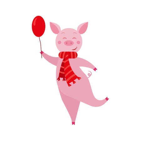 Cute cartoon funny pig with balloon  for Christmas and New Year design.