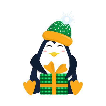 Cute christmas penguin with with ice-cream and fireworks for Christmas and New Year design. 矢量图像