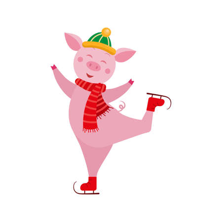 Cute cartoon pig in hat ice skating. Christmas and New Year design.