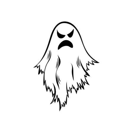 Hand drawn doodle ghost. Halloween symbol. Magic creature.