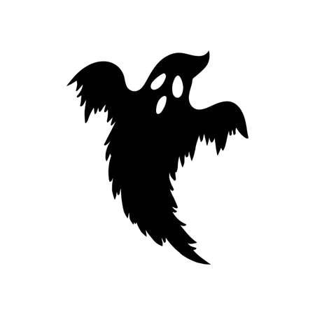 Hand drawn black silhouette ghost. Halloween symbol. Magic creature. 矢量图像