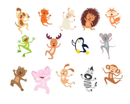 Collection cartoon joyful jumping animal isolated on white. Smiling funny characters hopping. Happy animals set.