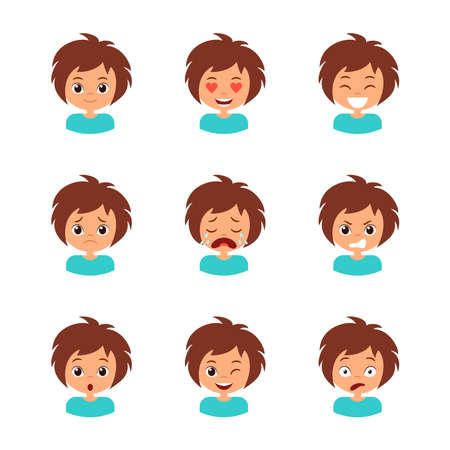 Different girl emotion set. Collection character expression. Children emoticon, avatar clipart Ilustração