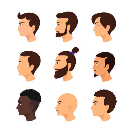 Male face in profile. Guys avatar set. Collection of men's hairstyles. Ilustração